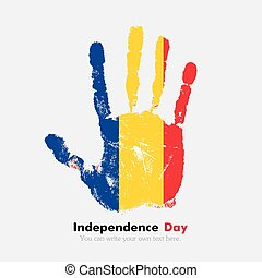 Handprint with the Romanian flag in grunge style