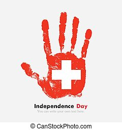 Handprint with the Swiss flag in grunge style