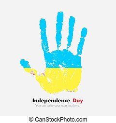 Handprint with the Ukrainian flag in grunge style