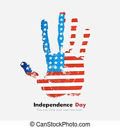 Handprint with the USA flag in grunge style