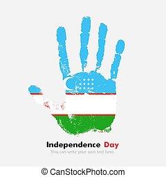 Handprint with the Uzbekistan flag in grunge style