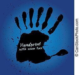 handprint, z, siódemka, palce