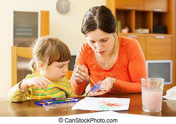 handprinting, לצבוע, ילד, אמא