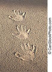 Handprints.