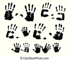 Handprints in black paint on a white background. Vector illustration.