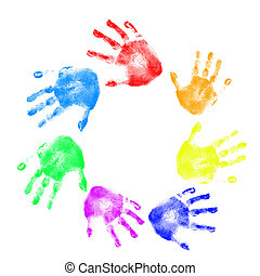Handprints in different colors on a white background in...
