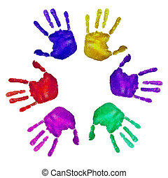 handprints of different colors on a white background