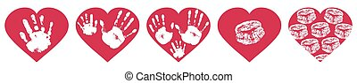 Handprints of family, imprint of palm hand of mother, father and baby, imprint of lips in red heart shape. Set. Vector illustration