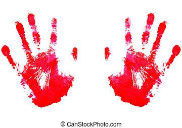 handprints, rojo