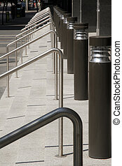 Handrail, light, and steps Architecture