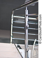 handrails in polished stainless steel