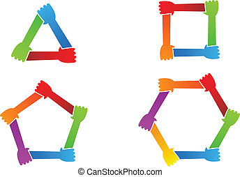 hands., 合併した, 概念, シンボル