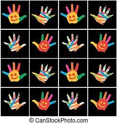 hands., 子供, 背景