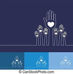 hands., 線, イラスト, 単純である