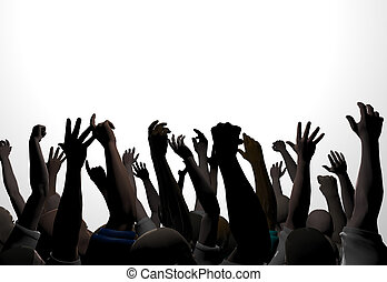 Hands 1 - An audience waves and applauds