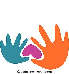 Hands and a heart - Abstract outlines of two hands and...