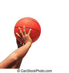 Hands and basketball