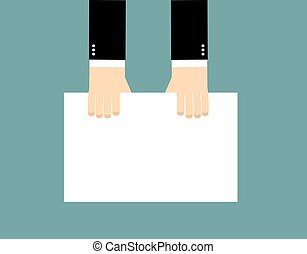 Hands and Blank billboard. Businessman keeps clean sheet of paper. Hands men top view. White blank whiteboard for your text