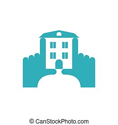 Hands and building construction logo. Pointing fingers frame. View next house. Emblem for real estate company