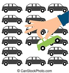 Hands and car. buying a car. Concept business illustration