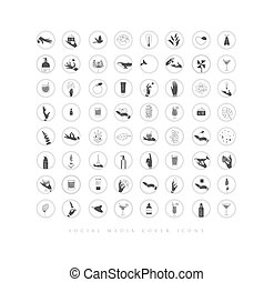 Hands and cosmetics social media cover icons