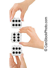 Hands and dices isolated on white background