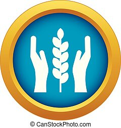 Hands and ear of wheat icon blue vector isolated