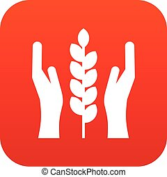 Hands and ear of wheat icon digital red