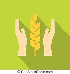 Hands and ear of wheat icon, flat style