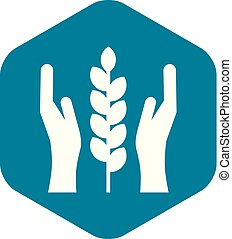 Hands and ear of wheat icon, simple style