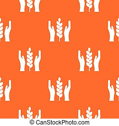 Hands and ear of wheat pattern seamless