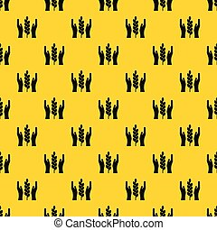 Hands and ear of wheat pattern vector