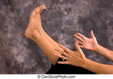 yoga womans feet in eagle pose asana a woman practicing