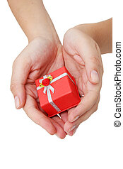 Hands and Gift - Hands holding red gift box
