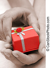 Hands and Gift Sepia