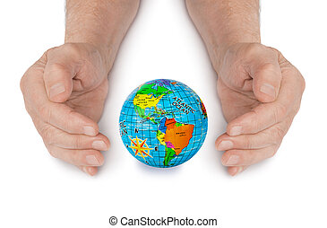 Hands and globe