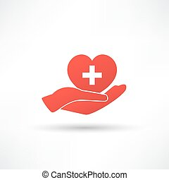 Hands and heart. Icon of kindness and charity