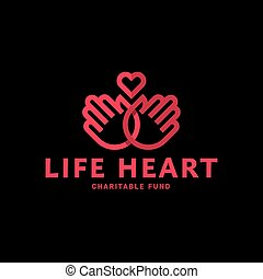 Hands and heart in one line logo flat style trend vector charity