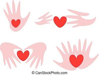 hands and heart set of symbols