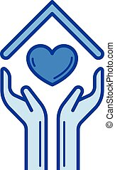 Hands and house roof with heart line icon.