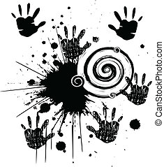 Hands and ink grunge style stock