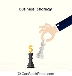 Hands and King of chess symbol with business and marketing strategy. Businessman hand holding chess king piece. Leader and teamwork concept for success. Chess concept save the king and save the strategy.