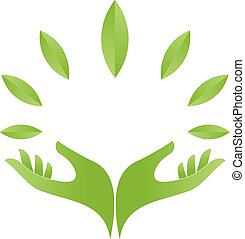 Hands and leaves logo