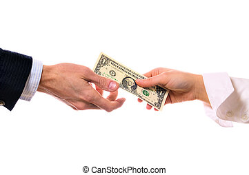 hands and money banknote on white with clipping path