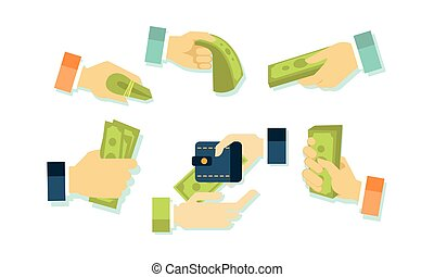 Hands and money set, businessman hand giving and receiving money and credit cards vector Illustration on a white background