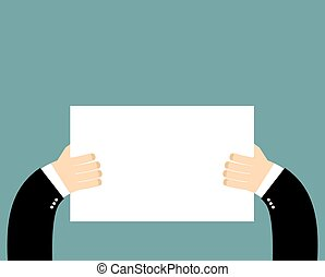 Hands and pure blank billboard banner sign. Businessman holding a poster. Space for text. White sheet of paper