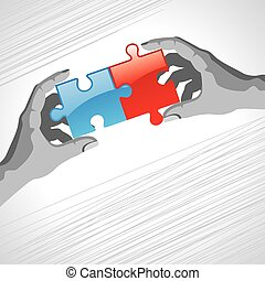 Hands and puzzle. Business concept