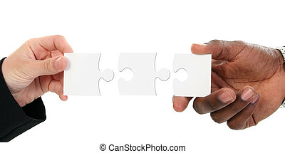 Hands And Puzzle Pieces Isolated On White