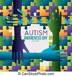 hands and puzzles background to autism day vector...