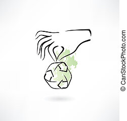 Hands and recycle icon